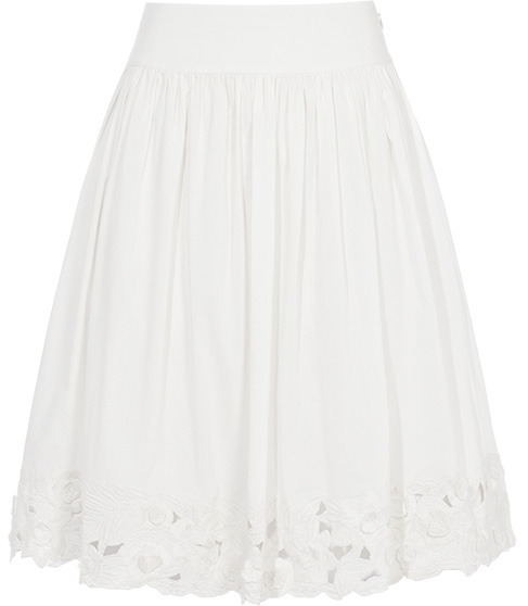 Giselle Embroidered Hem Skirt - pattern: plain; style: full/prom skirt; fit: loose/voluminous; waist detail: fitted waist, wide waistband/cummerbund; waist: mid/regular rise; predominant colour: ivory; occasions: casual; length: just above the knee; fibres: cotton - 100%; hip detail: soft pleats at hip/draping at hip/flared at hip; trends: white; pattern type: fabric; pattern size: standard; embellishment: embroidered