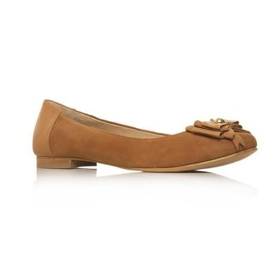 Tan Jubilee Flat Shoes - predominant colour: tan; material: suede; heel height: flat; embellishment: jewels, ribbon; toe: round toe; style: ballerinas / pumps