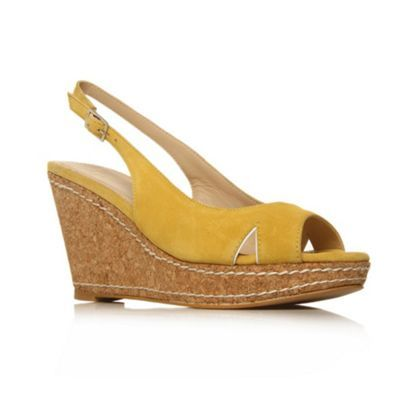 Yellow Lilly High Heel Shoes - predominant colour: yellow; material: suede; heel height: mid; ankle detail: ankle strap; heel: wedge; toe: open toe/peeptoe; style: strappy