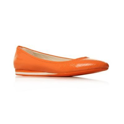 Orange Cyndi Flat Shoes - predominant colour: bright orange; material: leather; heel height: flat; toe: round toe; style: ballerinas / pumps