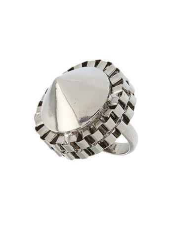 Silver Boxed Dome Ring - predominant colour: silver; style: cocktail; size: large/oversized; material: chain/metal