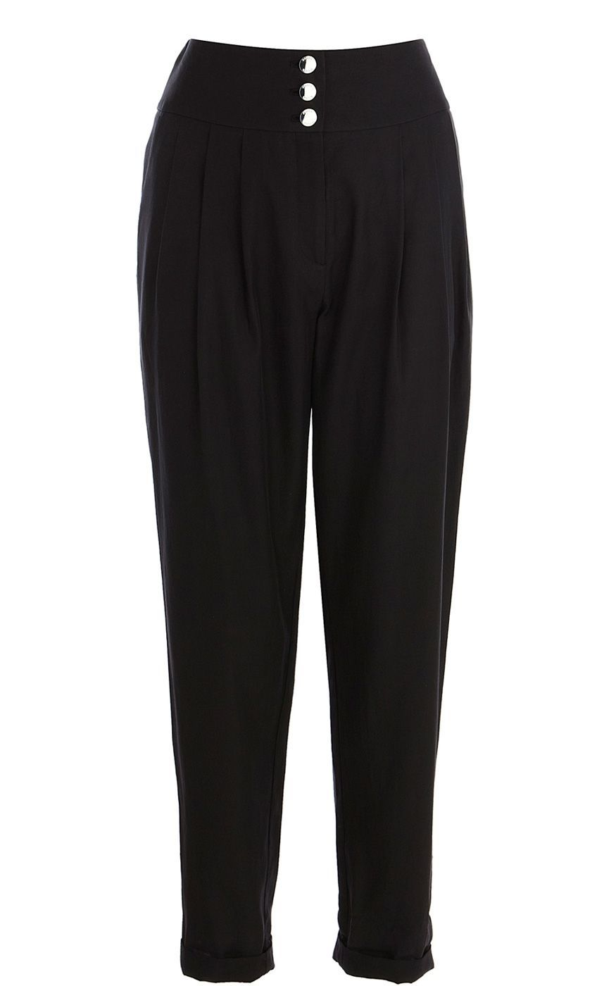 Women's Soft Trousers, Black - waist detail: fitted waist, wide waistband/cummerbund; waist: mid/regular rise; predominant colour: black; occasions: casual, evening, work; length: ankle length; fibres: cotton - mix; hip detail: front pleats at hip level; fit: tapered; style: standard
