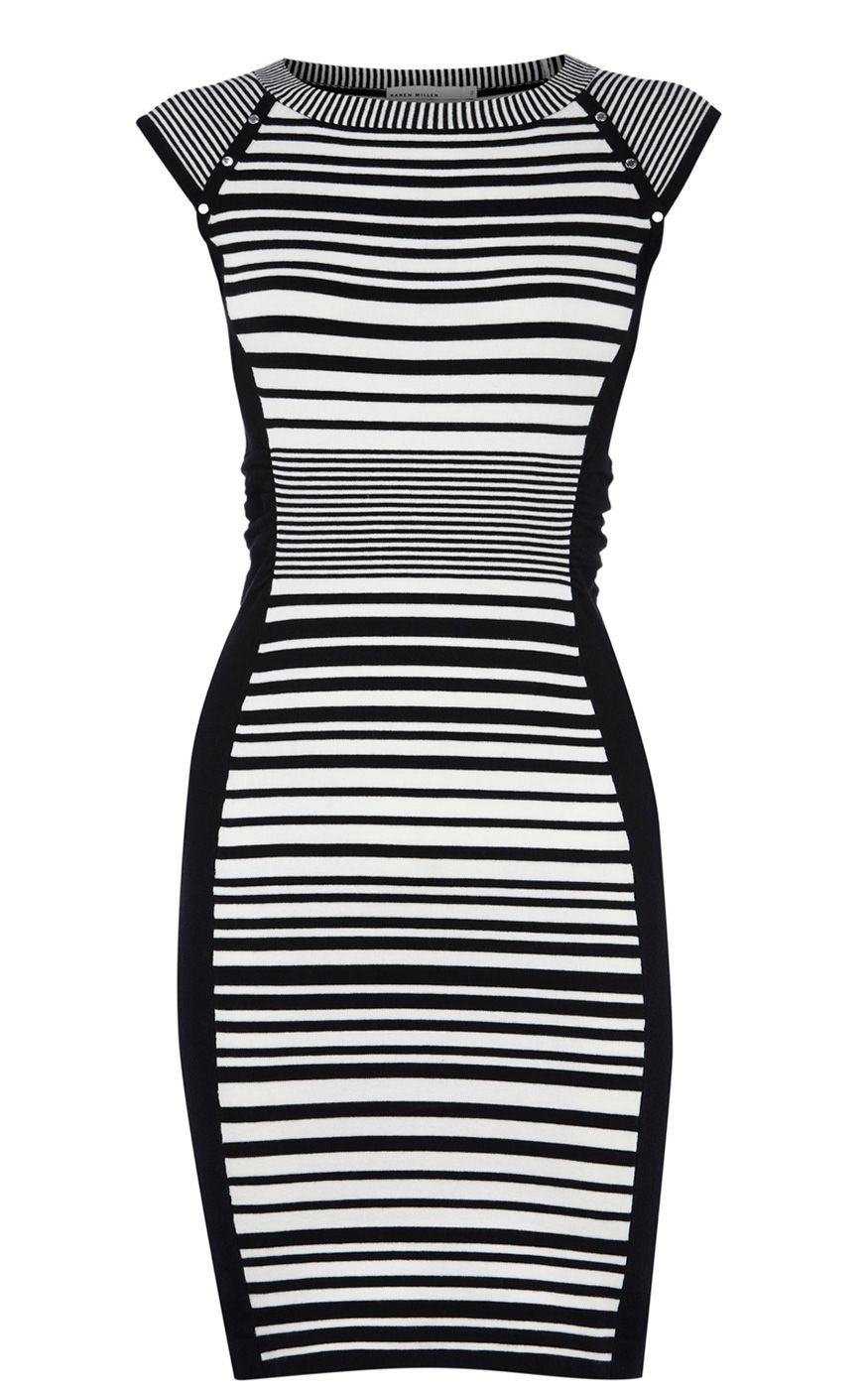 Women's Striped Knit Collection Dress, Black - style: jumper dress; neckline: round neck; sleeve style: capped; fit: tight; pattern: horizontal stripes; waist detail: fitted waist; hip detail: fitted at hip; predominant colour: black; occasions: casual, evening, work; length: just above the knee; fibres: polyester/polyamide - stretch; sleeve length: short sleeve; pattern type: fabric; pattern size: standard