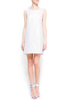 Dress Laika - style: shift; length: mid thigh; neckline: round neck; pattern: plain, metallic; sleeve style: sleeveless; back detail: low cut/open back; predominant colour: silver; occasions: evening, occasion; fit: straight cut; fibres: cotton - mix; material texture: metallic; hip detail: slits at hip; trends: aquatic; sleeve length: sleeveless; pattern type: fabric; pattern size: standard