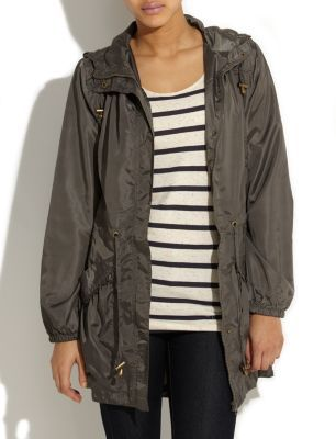 Navy Parka Jacket - pattern: plain; hip detail: side pockets at hip, front pockets at hip; style: parka; back detail: hood; fit: slim fit; collar: hooded with opening; length: mid thigh; predominant colour: khaki; occasions: casual; fibres: polyester/polyamide - 100%; waist detail: belted waist/tie at waist/drawstring; sleeve length: long sleeve; sleeve style: standard; pattern type: fabric; pattern size: standard