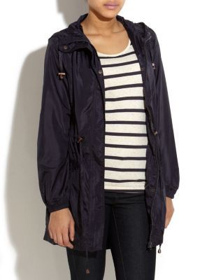 Navy Parka Jacket - pattern: plain; hip detail: side pockets at hip, front pockets at hip; style: parka; back detail: hood; fit: slim fit; collar: hooded with opening; length: mid thigh; predominant colour: navy; occasions: casual; fibres: polyester/polyamide - 100%; waist detail: belted waist/tie at waist/drawstring; trends: aquatic; sleeve length: long sleeve; sleeve style: standard; pattern type: fabric; pattern size: standard