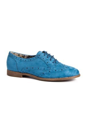 Lola Blue Lace Up Brogues - predominant colour: royal blue; material: faux leather; heel height: flat; toe: round toe; style: brogues