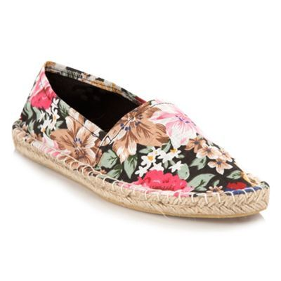 Black Floral Printed Espadrilles - predominant colour: multicoloured; material: fabric; heel height: flat; embellishment: print; toe: round toe; style: ballerinas / pumps; pattern: patterned/print