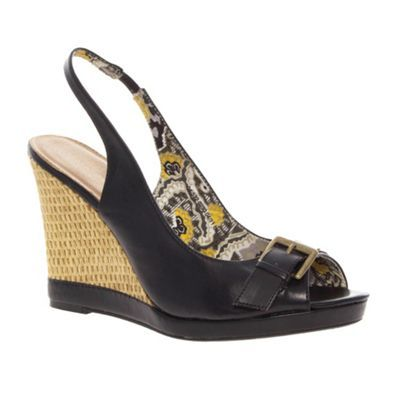 Black Buckle Trim Raffia Wedge Sandals - predominant colour: black; material: faux leather; heel height: high; embellishment: buckles; ankle detail: ankle strap; heel: wedge; toe: open toe/peeptoe; style: slingbacks