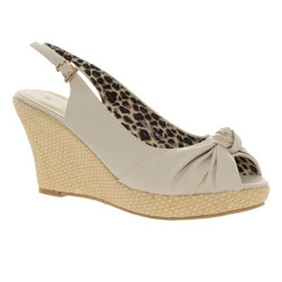 Beige Knot Detail Wedge Sandals - predominant colour: stone; material: faux leather; heel height: high; embellishment: buckles; ankle detail: ankle strap; heel: wedge; toe: open toe/peeptoe; style: slingbacks