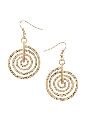 Gold Swirl Drop Earrings - predominant colour: gold; style: drop; length: short; size: standard; material: chain/metal; fastening: pierced