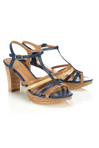 Blue Block Heel Sandal - predominant colour: navy; material: faux leather; heel height: mid; ankle detail: ankle strap; heel: stack; toe: open toe/peeptoe; style: strappy