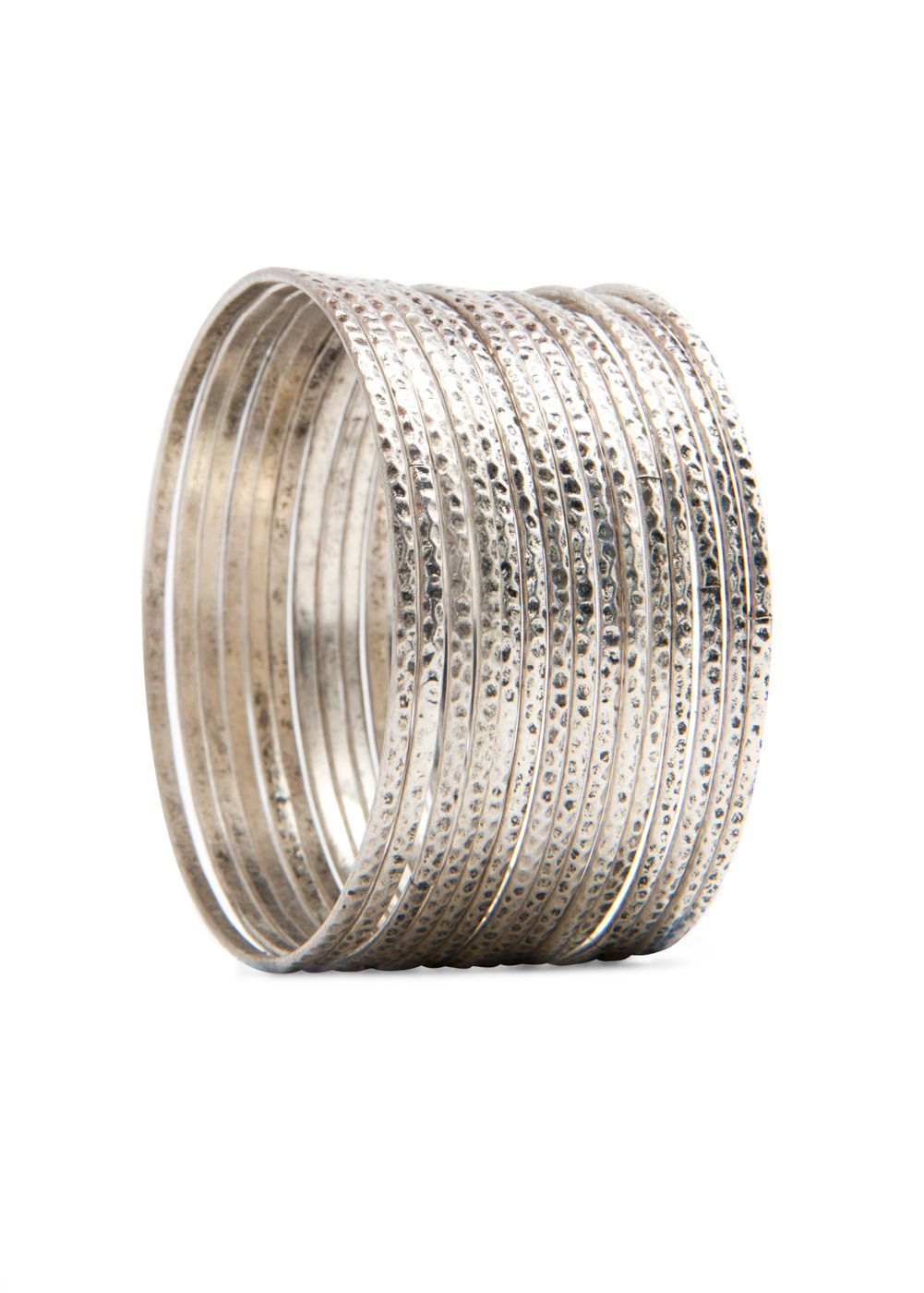 Metallic Bracelets, Silver - predominant colour: silver; style: bangle; size: small; material: chain/metal