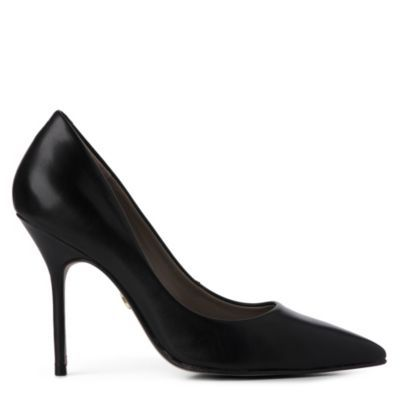 Elsie Courts - predominant colour: black; material: leather; heel height: high; heel: stiletto; toe: pointed toe; style: courts