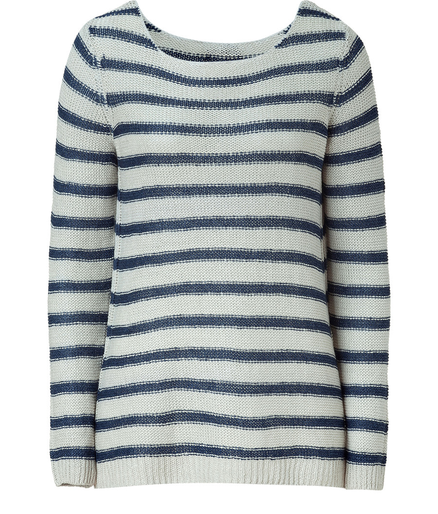 Buttermilk And Navy Striped Linen Sweater - neckline: scoop neck; pattern: horizontal stripes; length: below the bottom; style: chunky knit; predominant colour: navy; occasions: casual; fibres: linen - 100%; fit: loose; trends: prints; sleeve length: long sleeve; sleeve style: standard; pattern type: knitted - other; pattern size: standard