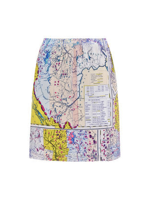 Map Print Skirt - length: mid thigh; pattern: print, patterned/print; style: straight; fit: tailored/fitted; hip detail: fitted at hip; waist: mid/regular rise; predominant colour: yellow; occasions: casual, work; fibres: silk - 100%; trends: prints; pattern type: fabric; pattern size: standard