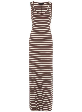 Mink And Ivory Stripe Maxi - neckline: low v-neck; pattern: horizontal stripes; sleeve style: sleeveless; style: maxi dress; length: ankle length; waist detail: fitted waist; hip detail: fitted at hip; predominant colour: chocolate brown; occasions: casual; fit: body skimming; fibres: polyester/polyamide - 100%; material texture: jersey; trends: prints; sleeve length: sleeveless; pattern type: fabric; pattern size: standard; texture group: jersey - stretchy/drapey
