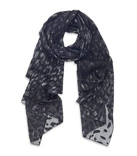 Devore Leopard Scarf - predominant colour: black; type of pattern: light; style: regular; size: standard; material: silk; pattern: animal print