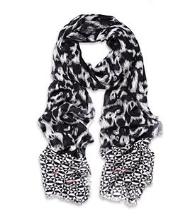 Ikat Print Scarf - predominant colour: black; style: regular; size: standard; material: fabric; pattern: picture design, patterned/print