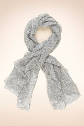 Autograph Linen Blend Lightweight Striped Scarf - predominant colour: light grey; type of pattern: standard; style: regular; size: standard; material: fabric; pattern: plain, vertical stripes