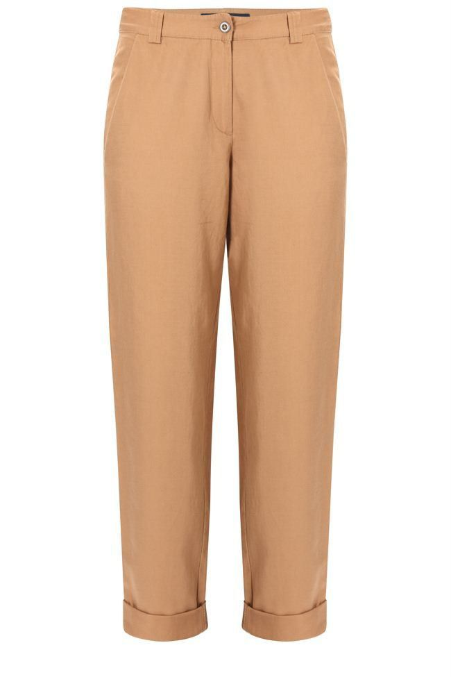 Women's Laurita Linen Roll Up Trousers, Tan - pocket detail: small back pockets, pockets at the sides; style: peg leg; waist: mid/regular rise; predominant colour: tan; occasions: casual, evening, work; length: ankle length; fibres: linen - mix; hip detail: fitted at hip (bottoms); waist detail: narrow waistband; jeans & bottoms detail: turn ups; fit: baggy