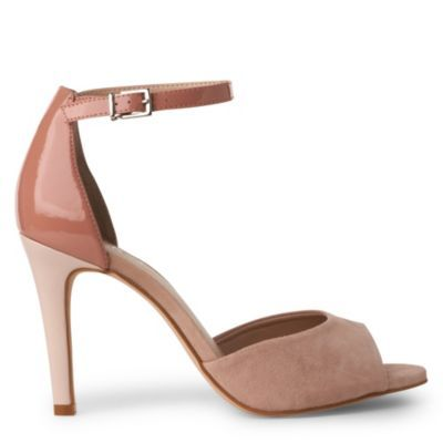 Arietta Ankle Sandals - predominant colour: blush; material: suede; heel height: high; ankle detail: ankle strap; heel: stiletto; toe: open toe/peeptoe; style: mary janes