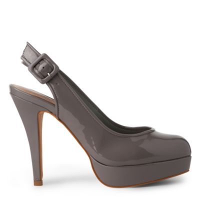 Agree Slingback Courts - predominant colour: charcoal; material: patent; heel height: high; embellishment: buckles; ankle detail: ankle strap; heel: stiletto; toe: round toe; style: slingbacks; finish: patent