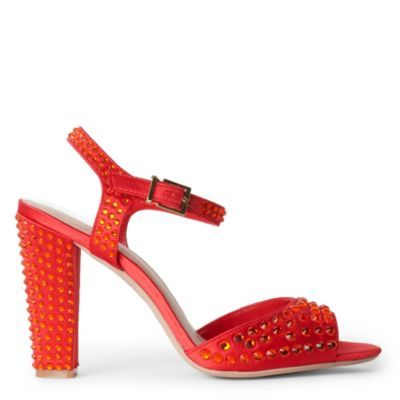 Gripping Gem Embellished Sandals - predominant colour: true red; material: satin; heel height: high; embellishment: crystals, jewels, studs; ankle detail: ankle strap; heel: block; toe: open toe/peeptoe; style: standard