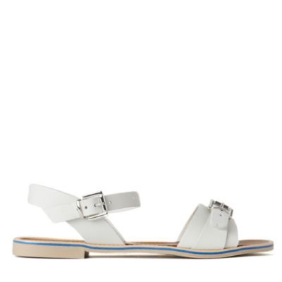 Kurly Flat Sandals - predominant colour: white; material: leather; heel height: flat; embellishment: buckles; ankle detail: ankle strap; heel: standard; toe: open toe/peeptoe; style: standard