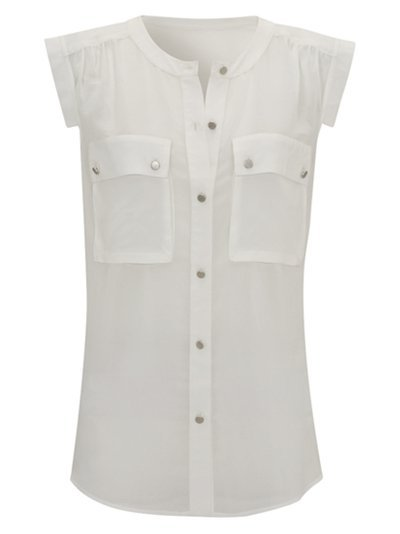 Sheer Blouse, Ivory - neckline: round neck; pattern: plain; sleeve style: sleeveless; bust detail: added detail/embellishment at bust, buttons at bust (in middle at breastbone)/zip detail at bust; waist detail: fitted waist; shoulder detail: tiers/frills/ruffles; style: blouse; hip detail: fitted at hip; predominant colour: ivory; occasions: casual, work; length: standard; fibres: polyester/polyamide - 100%; fit: straight cut; trends: white; sleeve length: sleeveless; pattern type: fabric; pattern size: standard