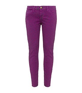 The Stiletto Jeans - style: skinny leg; pattern: print, small polka dot, polka dot, patterned/print; pocket detail: traditional 5 pocket; waist: mid/regular rise; predominant colour: purple; occasions: casual; length: ankle length; fibres: cotton - stretch; material texture: denim; trends: prints, brights; texture group: denim; pattern type: fabric; pattern size: small & busy