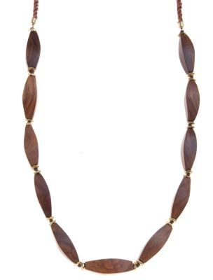 Oval Wood Bead Necklace - predominant colour: tan; style: standard; length: long; size: standard; material: beaded; embellishment: beading