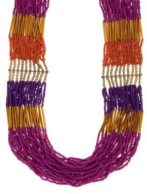 Chunky Drape Bead Necklace - predominant colour: multicoloured; style: multistrand; length: short; size: standard; material: beaded; embellishment: beading