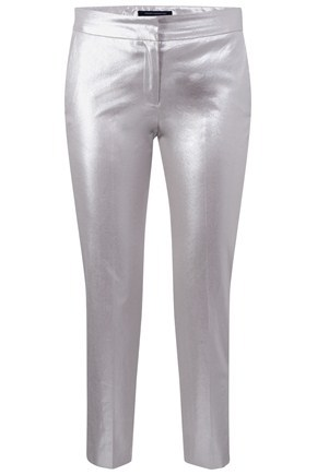 Sparkle Babs Trouser - length: standard; pocket detail: small back pockets, pockets at the sides; waist: mid/regular rise; predominant colour: silver; occasions: casual, evening, occasion; fibres: cotton - stretch; material texture: metallic; trends: sports luxe; fit: straight leg; style: standard