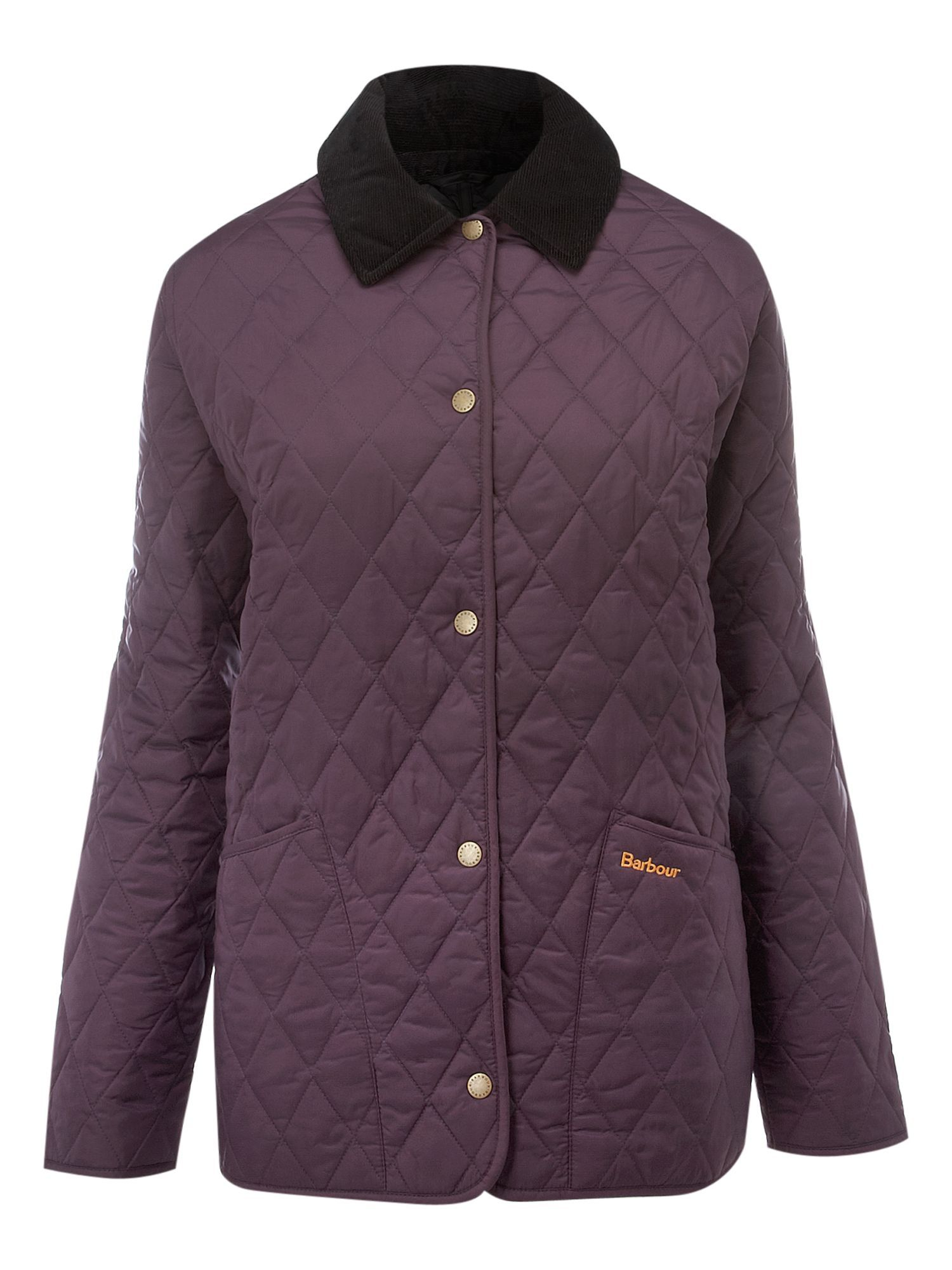 Women's Shaped Liddesdale Quilted Jacket, Purple - pattern: plain; length: standard; collar: round collar/collarless; style: quilted; hip detail: front pockets at hip; fit: slim fit; predominant colour: aubergine; occasions: casual; fibres: viscose/rayon - 100%; sleeve length: long sleeve; sleeve style: standard
