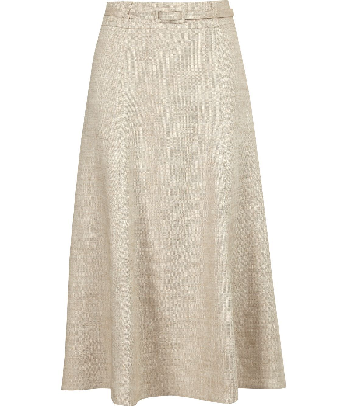 Women's Natural Linen Skirt, Cream - length: below the knee; pattern: plain; fit: loose/voluminous; waist detail: fitted waist, belted waist/tie at waist/drawstring; waist: high rise; hip detail: fitted at hip, structured pleats at hip, soft pleats at hip/draping at hip/flared at hip; predominant colour: ivory; occasions: casual, work, occasion; style: a-line; fibres: linen - mix; material texture: jersey; pattern type: fabric; pattern size: standard; texture group: jersey - stretchy/drapey