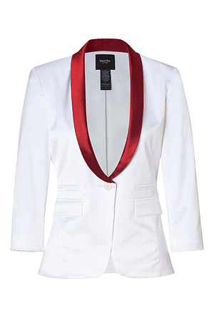 White And Red Colorblock Blazer - pattern: plain, two-tone; style: single breasted blazer; shoulder detail: shoulder pads; hip detail: side pockets at hip, front pockets at hip; collar: standard lapel/rever collar; predominant colour: white; occasions: casual, evening, work; length: standard; fit: tailored/fitted; fibres: cotton - mix; material texture: satin; waist detail: fitted waist; trends: white; sleeve length: 3/4 length; sleeve style: standard; texture group: structured shiny - satin/tafetta/silk etc.; collar break: low/open; pattern type: fabric; pattern size: standard