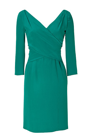 Emerald Three Quarter Sleeve Silk Dress - style: shift; length: mid thigh; neckline: low v-neck; pattern: plain; waist detail: fitted waist; back detail: cowl/draping/scoop at back; hip detail: fitted at hip; predominant colour: emerald green; occasions: evening, occasion; fit: body skimming; fibres: silk - 100%; sleeve length: 3/4 length; sleeve style: standard; pattern type: fabric; pattern size: standard
