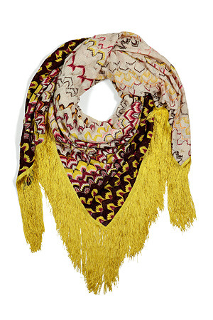 Nude Multicolor Lemon Fringed Scarf - predominant colour: yellow; type of pattern: heavy; style: regular; size: standard; material: fabric; embellishment: fringing; pattern: abstract, graphic print, patterned/print