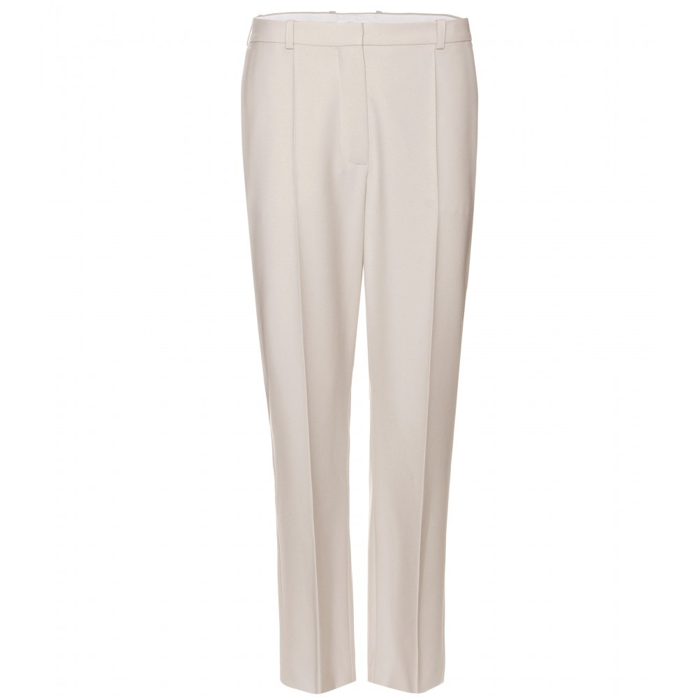 Wool High Waisted Trousers - length: standard; pocket detail: small back pockets, pockets at the sides; waist: high rise; predominant colour: nude; occasions: casual, work; fibres: wool - 100%; fit: straight leg; style: standard