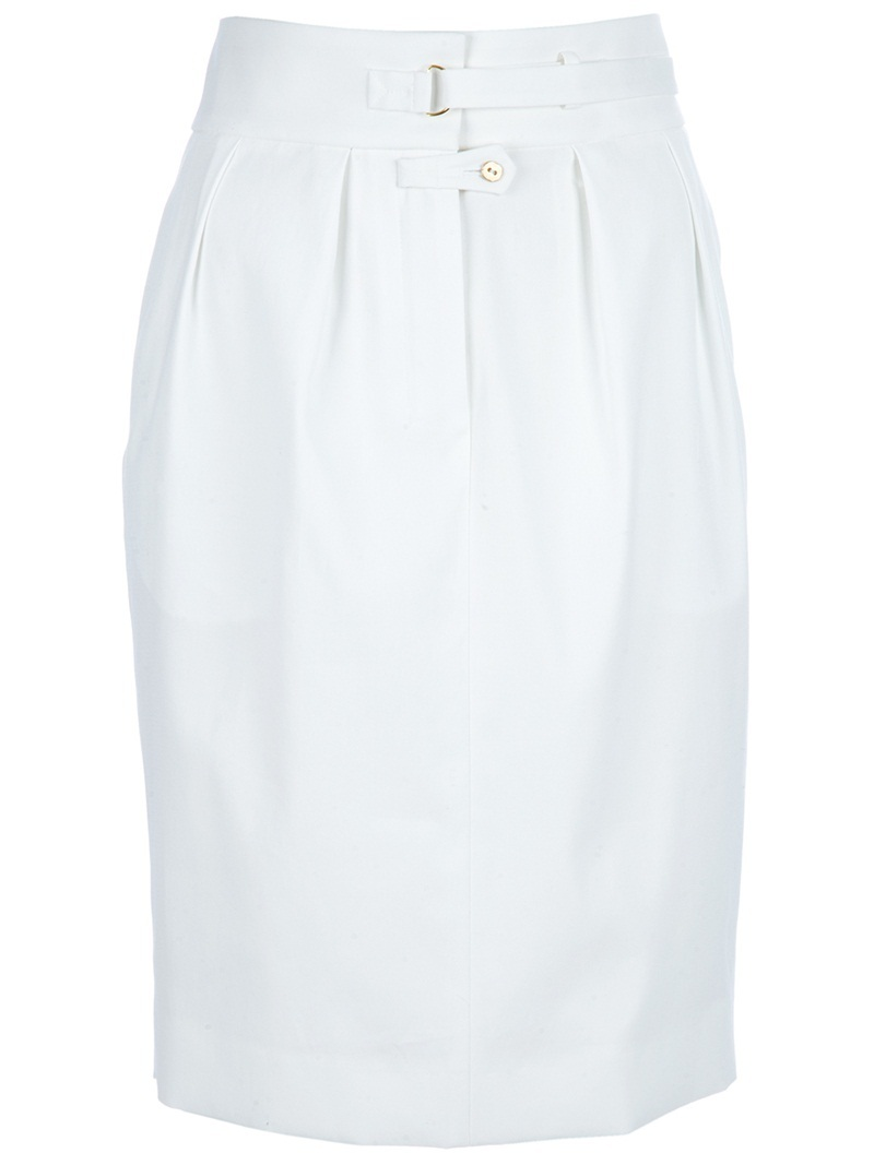 High Waist Skirt - pattern: plain; style: pencil; fit: tailored/fitted; waist detail: fitted waist, structured pleats at waist, belted waist/tie at waist/drawstring, narrow waistband; hip detail: side pockets at hip, fitted at hip; waist: high rise; predominant colour: white; occasions: evening, work; length: just above the knee; fibres: cotton - 100%; trends: white; pattern type: fabric; pattern size: standard