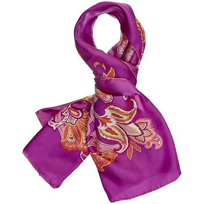 Phylicia Floral Scarf, Purple - predominant colour: purple; type of pattern: heavy; style: square; size: standard; material: silk; pattern: florals