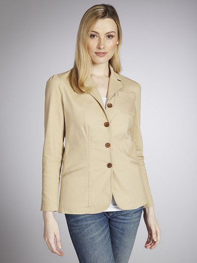 Rae Jacket, Sand - pattern: plain; style: single breasted blazer; hip detail: side pockets at hip, front pockets at hip; collar: standard lapel/rever collar; predominant colour: stone; occasions: casual, evening, work; length: standard; fit: straight cut (boxy); fibres: cotton - 100%; sleeve length: long sleeve; sleeve style: standard; collar break: medium; pattern type: fabric; pattern size: standard