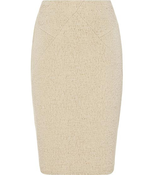 Rowan Panelled Pencil Skirt - pattern: plain; style: pencil; fit: tailored/fitted; waist: high rise; predominant colour: stone; occasions: work; length: just above the knee; fibres: cotton - mix; pattern type: fabric; pattern size: standard