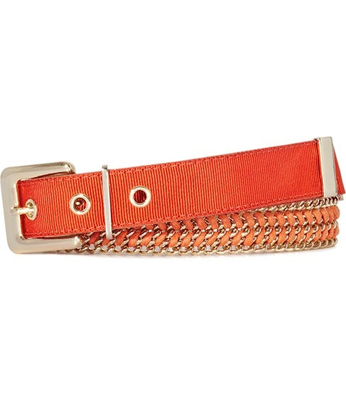 Tori Woven Chain Belt - predominant colour: bright orange; style: classic; size: standard; worn on: waist; material: fabric; pattern: plain