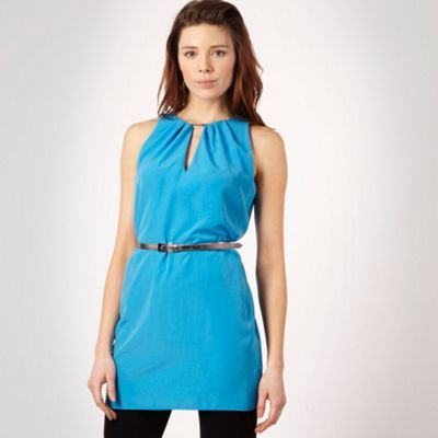 Bright Blue Belted Tunic Top - pattern: plain; sleeve style: sleeveless; length: below the bottom; style: tunic; waist detail: belted waist/tie at waist/drawstring; bust detail: ruching/gathering/draping/layers/pintuck pleats at bust; predominant colour: royal blue; occasions: evening; neckline: peep hole neckline; fibres: polyester/polyamide - 100%; material texture: satin; fit: body skimming; trends: brights; sleeve length: sleeveless; texture group: structured shiny - satin/tafetta/silk etc.; pattern type: fabric; pattern size: standard