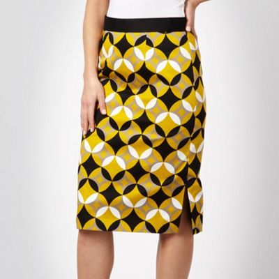 Dark Yellow Diamond Woven Skirt - length: below the knee; style: straight; fit: tailored/fitted; waist detail: fitted waist, narrow waistband; hip detail: fitted at hip; waist: mid/regular rise; predominant colour: yellow; occasions: casual, work; fibres: polyester/polyamide - stretch; material texture: satin; pattern: graphic print, patterned/print; trends: prints; texture group: structured shiny - satin/tafetta/silk etc.; pattern type: fabric; pattern size: standard