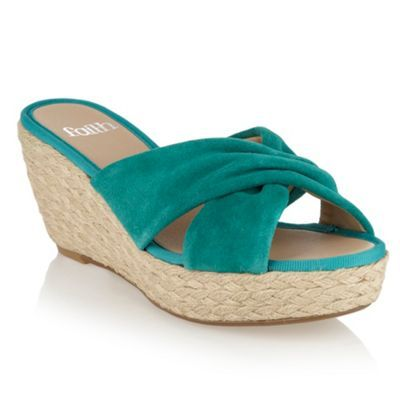 Bright Green Suede Strap Sandals - predominant colour: emerald green; material: suede; heel height: high; heel: wedge; toe: open toe/peeptoe; style: slides