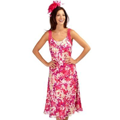 Confetti Leaf Devore Dress - style: a-line; length: below the knee; pattern: floral - busy, print, florals, patterned/print; sleeve style: sleeveless; waist detail: fitted waist; fit: soft a-line; neckline: scoop; fibres: polyester/polyamide - 100%; material texture: chiffon; occasions: occasion; hip detail: soft pleats at hip/draping at hip/flared at hip; predominant colour: multicoloured; trends: prints; sleeve length: sleeveless; texture group: sheer fabrics/chiffon/organza etc.; pattern type: fabric; pattern size: small &amp; busy