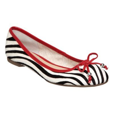 Black White M Burdon D Zebra Pony Ballerina - predominant colour: multicoloured; material: animal skin; heel height: flat; embellishment: animal print, beading; toe: round toe; style: ballerinas / pumps; pattern: animal print